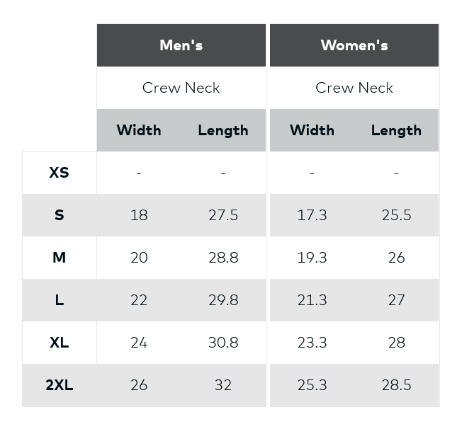 Size Chart (all measurements are shown in inches)